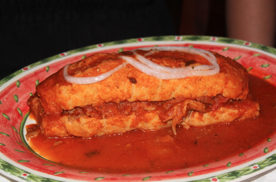 A Guadalajara special: drowned torta filled with carnitas. Though not very photogenic, it was tasty.
