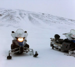 Snowmobiling During a Blizzard on Langjökull Glacier