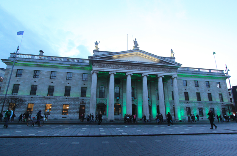 The General Post Office going green for the big day