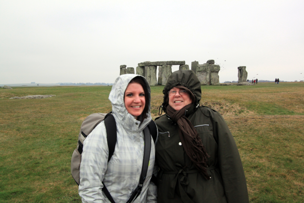 Mamabear and I bundled up at Stonehenge