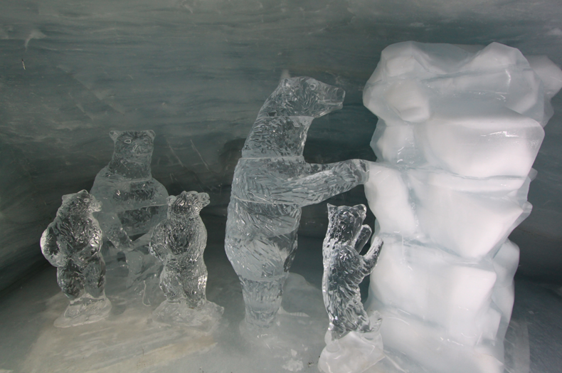 Bear Sculptures in the ice cave at Jungfraujoch