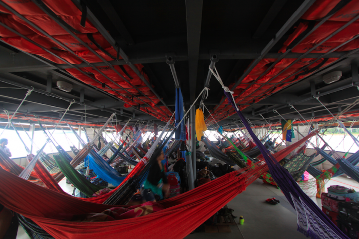 The hammocks on the top deck